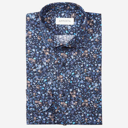 shirt 100% pure cotton poplin  flowers designs  multi, collar style  updated spread with short points