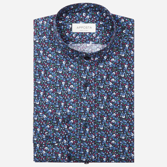 shirt 100% pure cotton poplin  flowers designs  multi, collar style  band collar