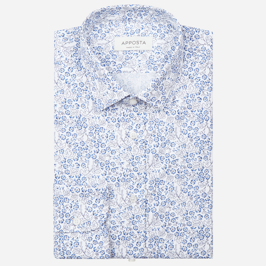 shirt 100% pure cotton poplin  flowers designs  light blue, collar style  updated straight point collar