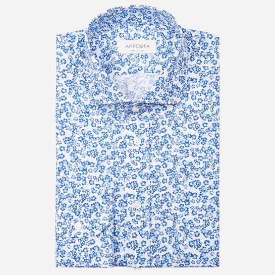 shirt 100% pure cotton poplin  flowers designs  light blue, collar style  updated spread with short points