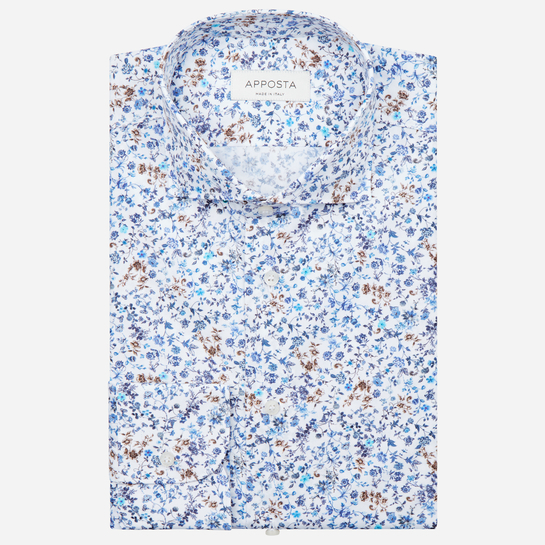 shirt 100% pure cotton poplin  flowers designs  multi, collar style  lower spread collar