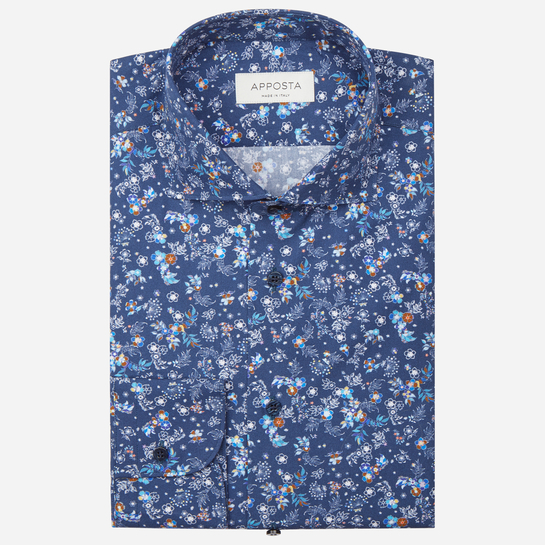 shirt 100% pure cotton poplin  flowers designs  blue, collar style  lower spread collar