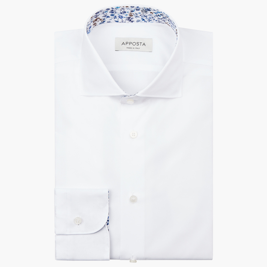 shirt 100% pure cotton pin point double twisted supima  solid  white, collar style  lower spread collar