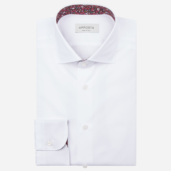 shirt 100% pure cotton poplin double twisted  solid  white, collar style  updated spread with short points
