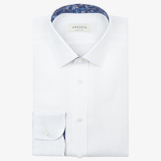 shirt linen plain  solid  white, collar style  updated straight point collar