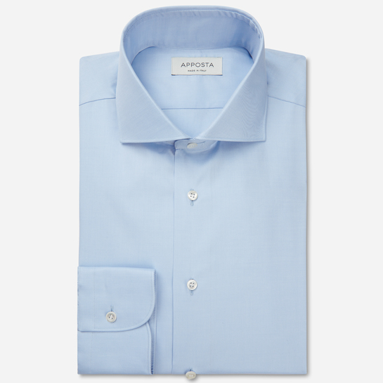 shirt stretch cotton twill  solid  light blue, collar style  lower spread collar