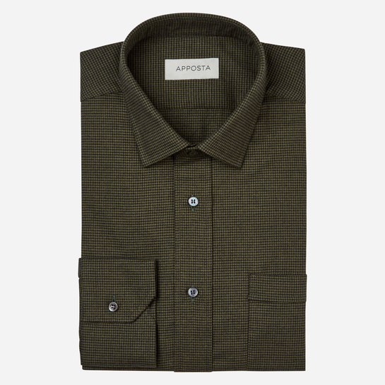 shirt flannel twill  houndstooth  green, collar style  updated straight point collar