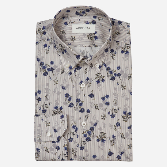 shirt 100% pure cotton poplin  flowers designs  grey, collar style  low button-down collar