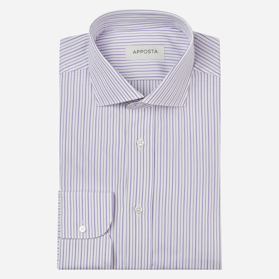 shirt 100% pure cotton poplin  stripes  violet, collar style  updated spread with short points