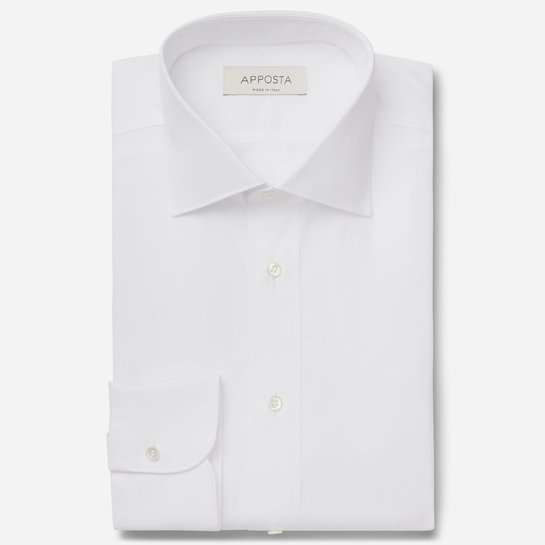 shirt 100% cotton stain repellent twill double twisted oekotex  solid  white, collar style  updated spread with short points