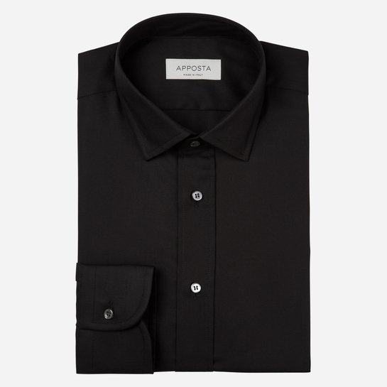 shirt 100% cotton stain repellent twill double twisted oekotex  solid  black, collar style  updated straight point collar