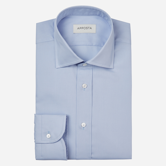 shirt 100% cotton stain repellent twill double twisted oekotex  solid  light blue, collar style  semi-spread collar