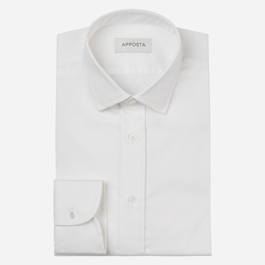 shirt stretch cotton stain repellent poplin double twisted oekotex  solid  white, collar style  updated straight point collar