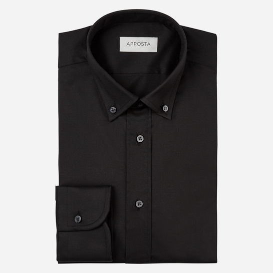 shirt stretch cotton stain repellent poplin double twisted oekotex  solid  black, collar style  low button-down collar
