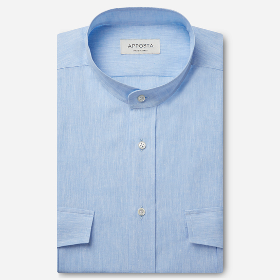 shirt linen plain  solid  cyan, collar style  band collar, cuff  angled