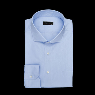 shirt 100% cotton wrinkle free fil-à-fil  solid  light blue, collar style  spread collar with short points, cuff  angled