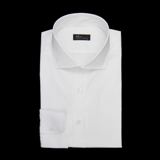 shirt 100% cotton wrinkle free poplin  solid  white, collar style  spread collar with short points, cuff  round