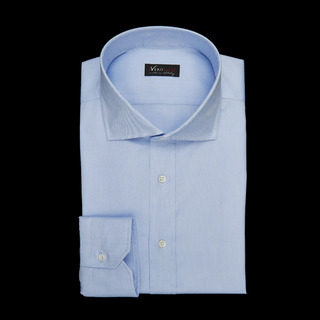 shirt 100% cotton wrinkle free pin point double twisted  solid  light blue, collar style  spread collar, cuff  angled