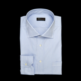 shirt 100% cotton wrinkle free poplin double twisted  stripes  light blue, collar style  semi-spread collar, cuff  angled