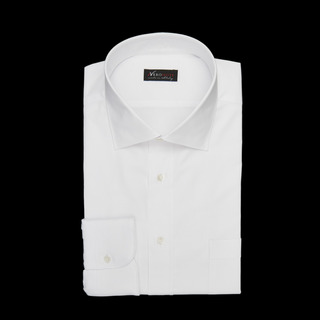 shirt 100% cotton wrinkle free pin point double twisted  solid  white, collar style  semi-spread collar, cuff  round