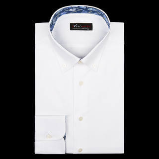 shirt 100% cotton wrinkle free pin point  solid  white, collar style  low button-down collar, cuff  round