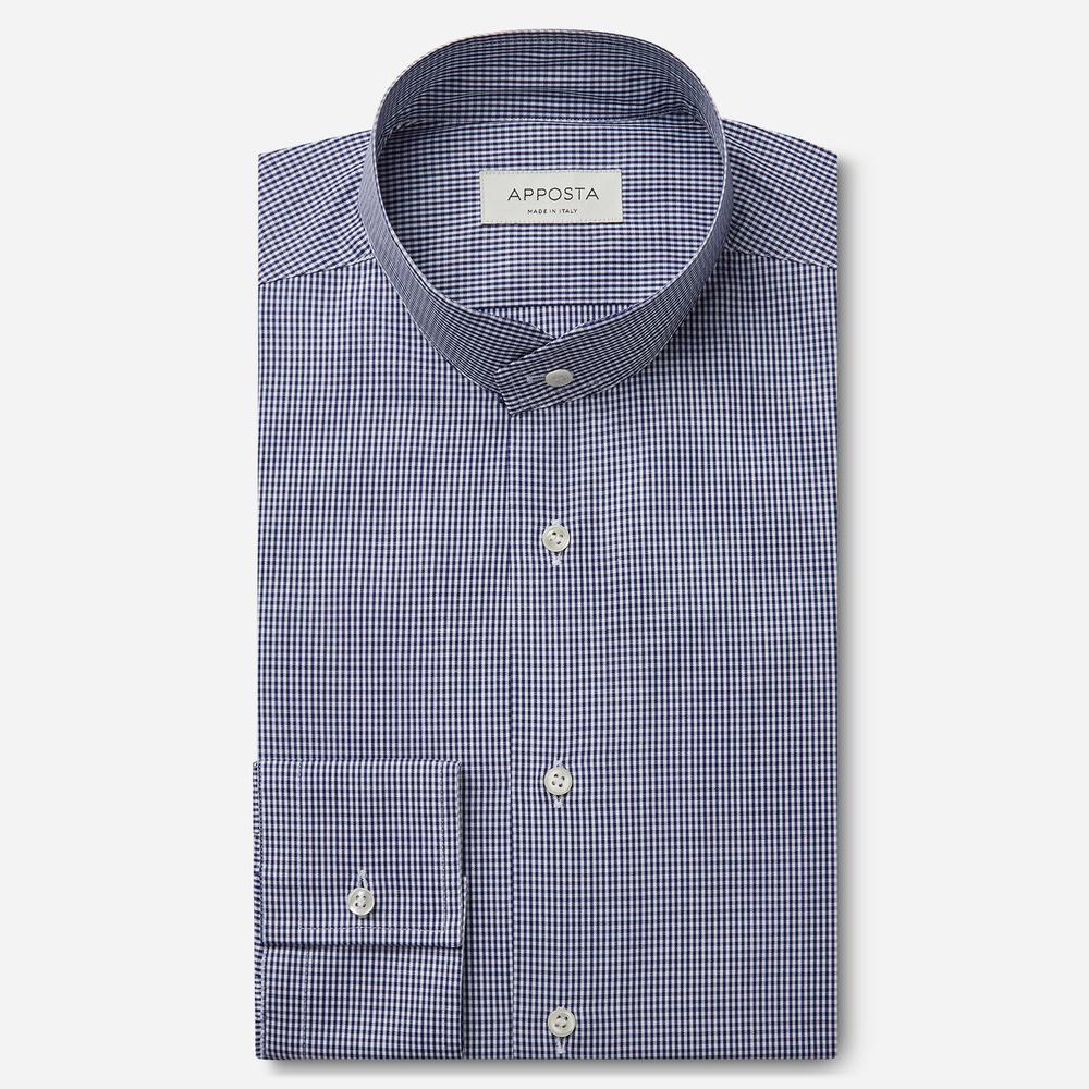 Image of Camicia quadri piccoli blu 100% puro cotone fil-a-fil, collo stile coreano smussato