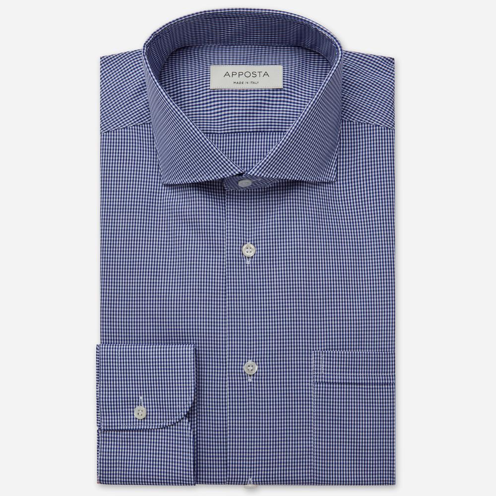 Image of Camicia quadri piccoli blu 100% puro cotone fil-a-fil, collo stile collo francese aggiornato a punte corte