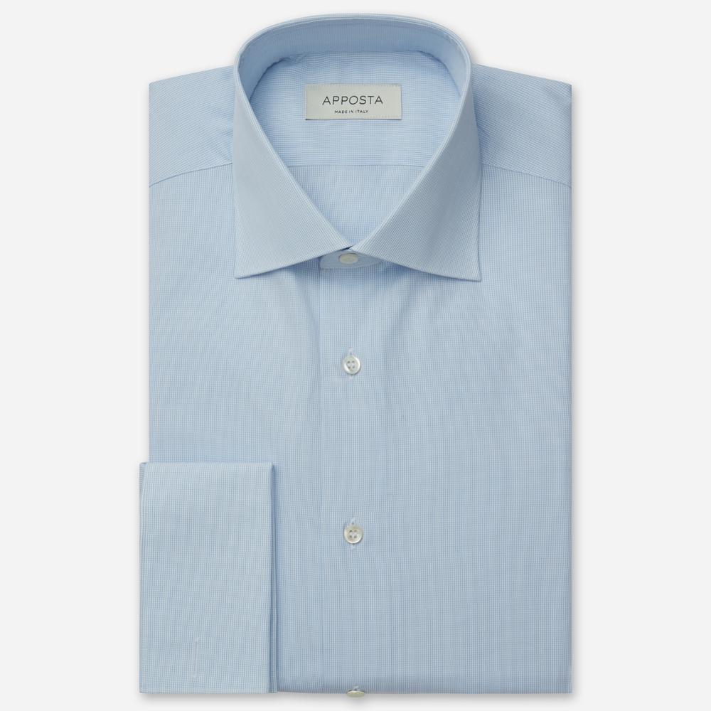 Image of Camicia quadri piccoli azzurro 100% puro cotone tela, collo stile francese