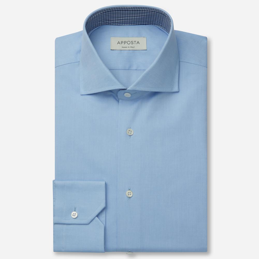 Image of Camicia tinta unita azzurro 100% puro cotone oxford, collo stile francese punte corte