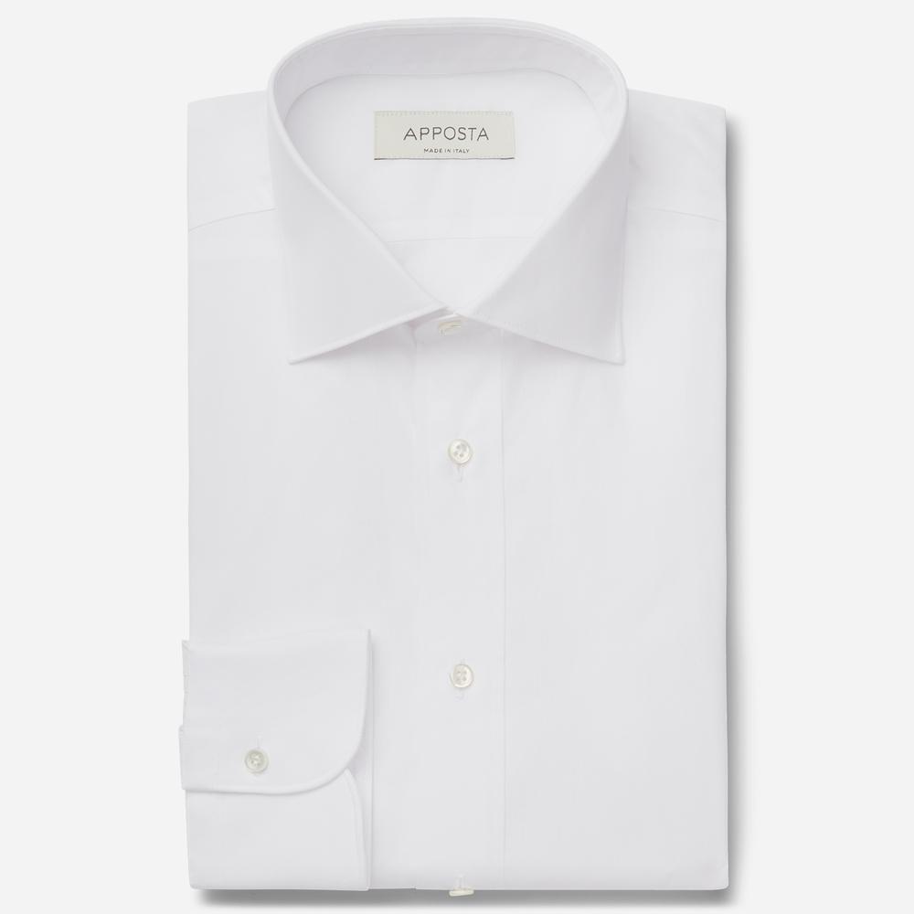 Image of Camicia tinta unita bianco 100% puro cotone oxford, collo stile semifrancese