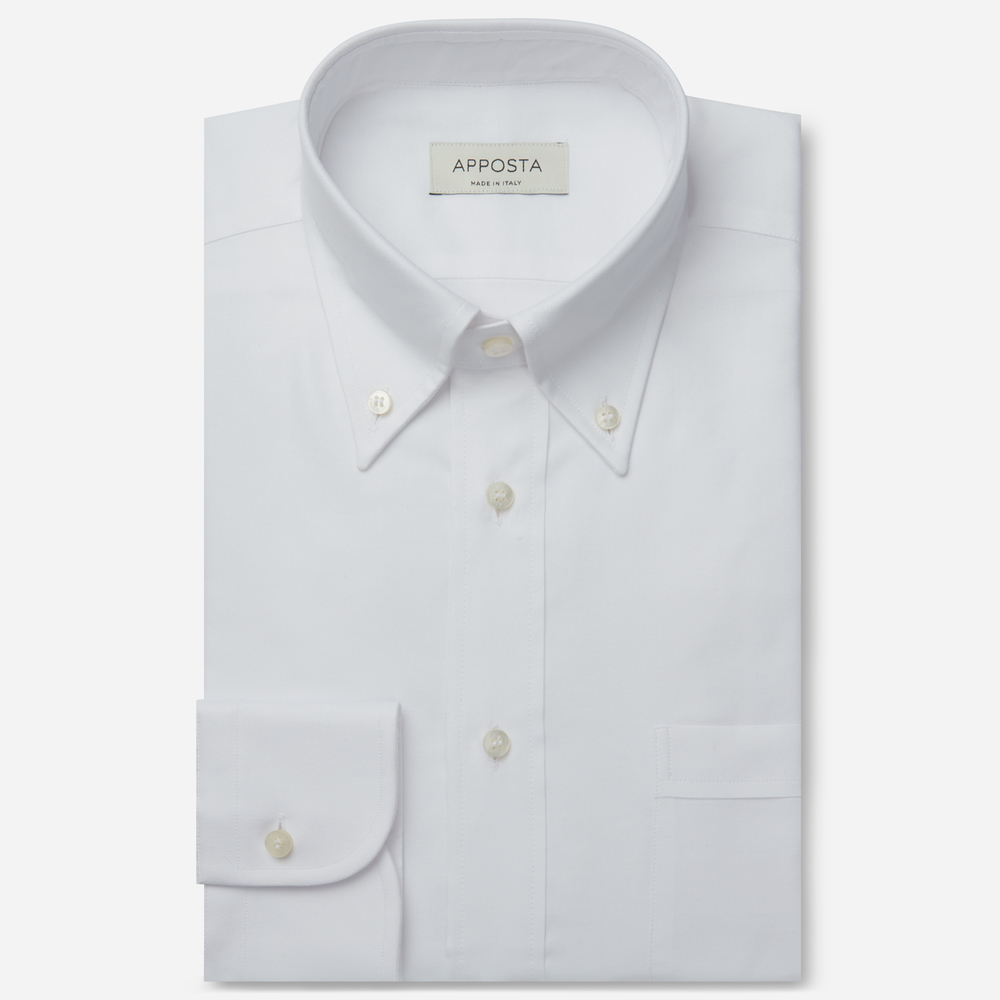 Image of Camicia tinta unita bianco 100% puro cotone oxford, collo stile button down