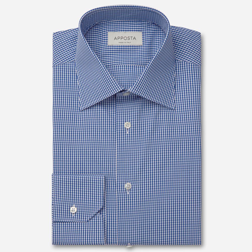 Image of Camicia quadri piccoli blu 100% puro cotone fil-a-fil, collo stile italiano standard