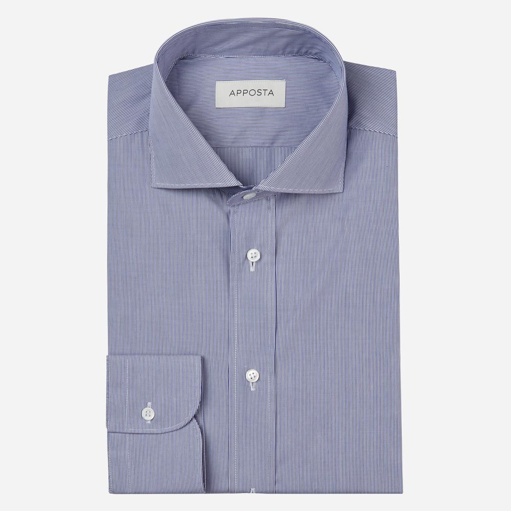 Image of Camicia righe blu 100% puro cotone popeline, collo stile francese punte corte
