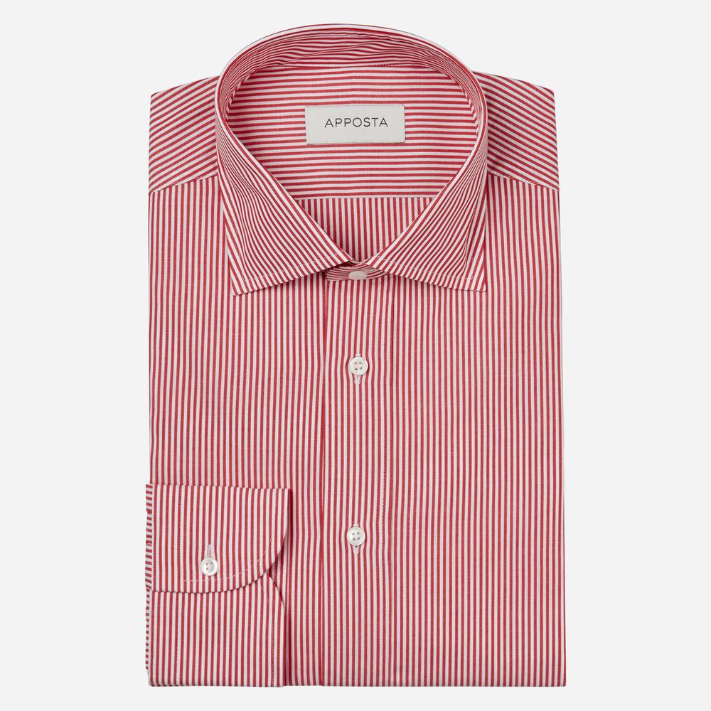 Image of Camicia righe rosso 100% puro cotone popeline, collo stile semifrancese