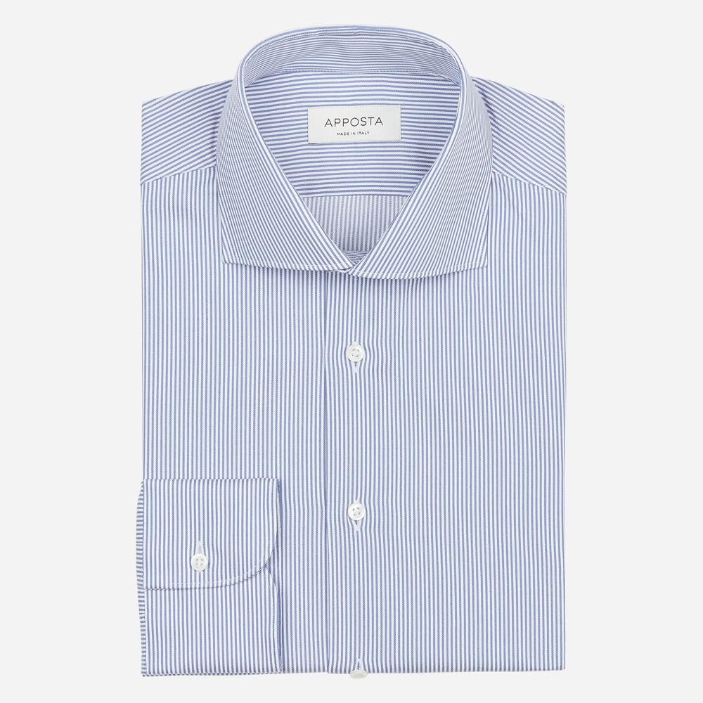 Image of Camicia righe azzurro 100% puro cotone twill, collo stile francese alto due bottoni
