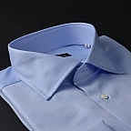shirt 100% pure cotton twill double twisted  solid  blue, collar style  semi-spread collar, cuff  french cuff (cufflinks)