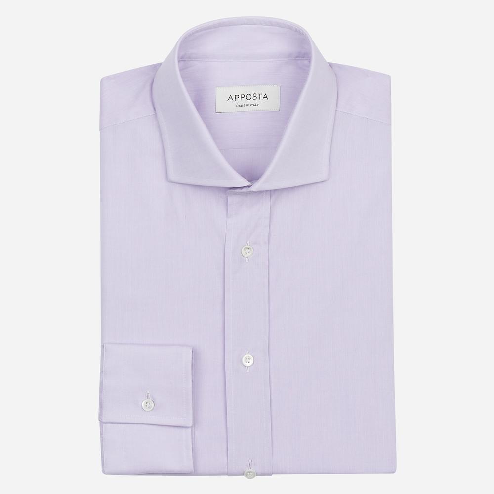 Image of Camicia tinta unita viola 100% puro cotone zephir, collo stile collo francese aggiornato a punte corte