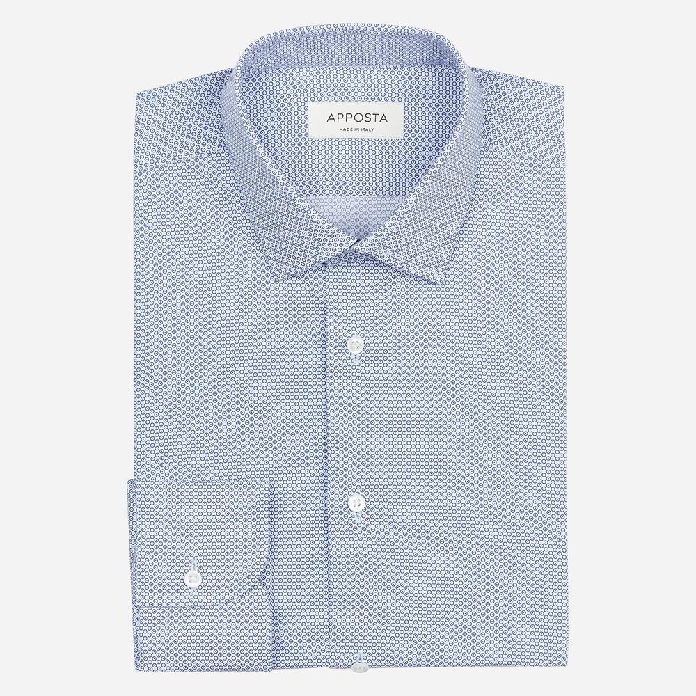 Image of Camicia disegni a pois azzurro 100% puro cotone popeline, collo stile italiano aggiornato