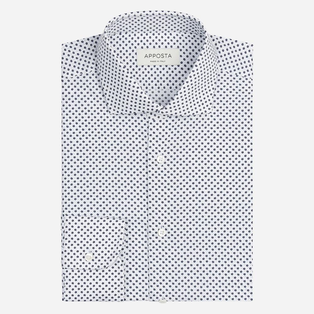 Image of Camicia disegni a fantasia bianco 100% puro cotone tela, collo stile collo francese aggiornato a punte corte
