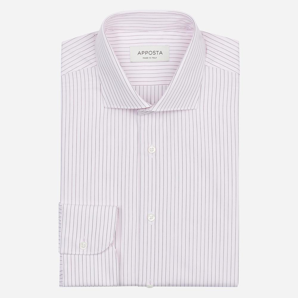 Image of Camicia righe rosa 100% puro cotone popeline, collo stile semifrancese