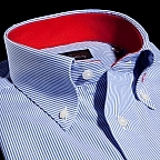 shirt 100% pure cotton fil-à-fil  stripes  blue, collar style  button-down collar, cuff  two buttonhole