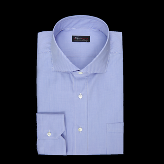 shirt 100% pure cotton poplin giza 87  checks  light blue, collar style  spread collar with short points, cuff  angled