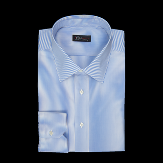shirt 100% pure cotton poplin giza 87  stripes  light blue, collar style  low straight point collar, cuff  angled