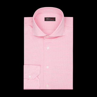 shirt 100% pure cotton jersey double twisted  houdstooth  pink, collar style  spread collar with short points, cuff  angled