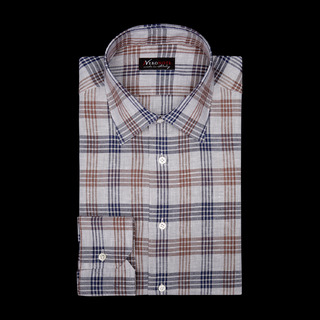 shirt linen plain  checks  multi, collar style  low straight point collar, cuff  angled