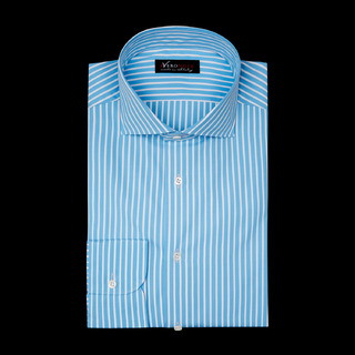 shirt 100% pure cotton poplin  stripes  light blue, collar style  spread collar with short points, cuff  round