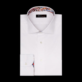 shirt 100% pure cotton twill double twisted  solid  white, collar style  semi-spread collar, cuff  round